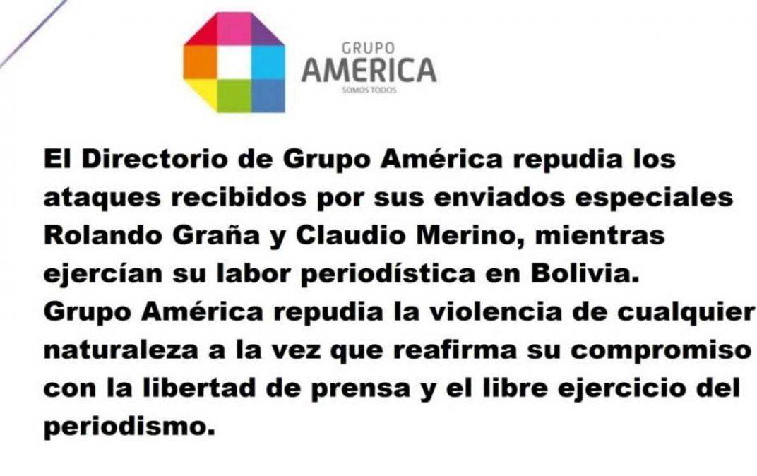 Grupo América repudió los ataques a sus enviados especiales en Bolivia