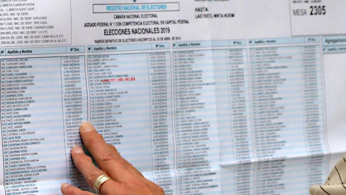Padrón electoral: ya se puede consultar y hacer reclamos