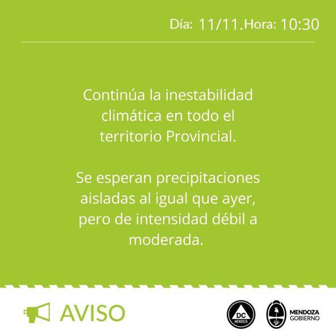 Pronóstico del tiempo: alerta meteorológico en Mendoza