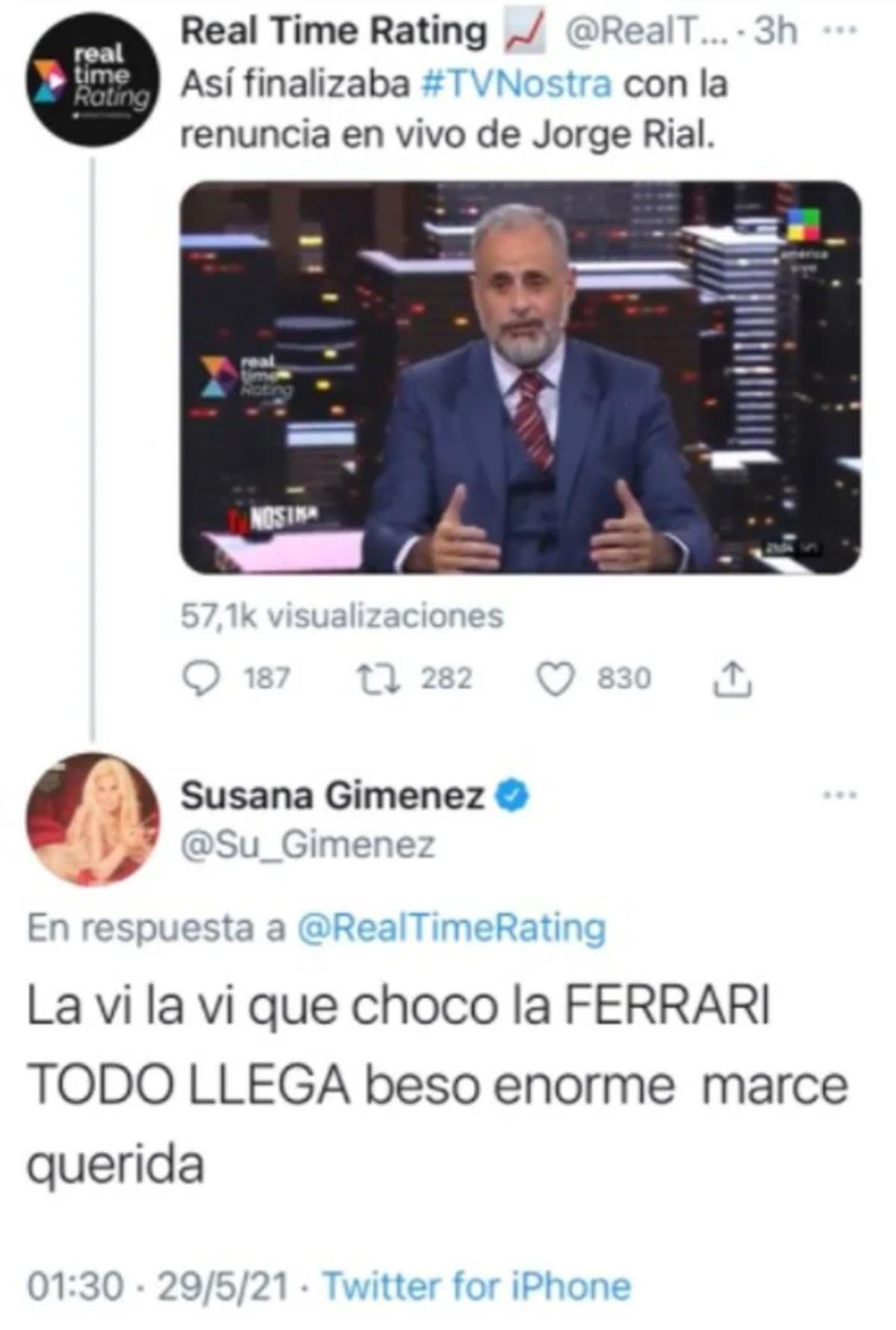 Susana Giménez durísima contra Jorge Rial