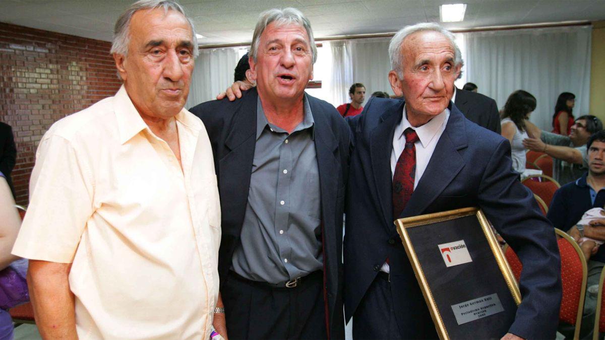 Jorge Germán Ruiz junto al Turco Julio y el Loco Fornari en los Premios UNO del 2008.