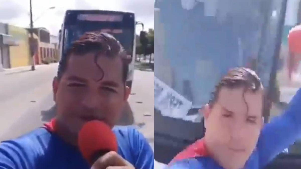 Broma. Video: Superman quiso para un colectivo y le salió mal.