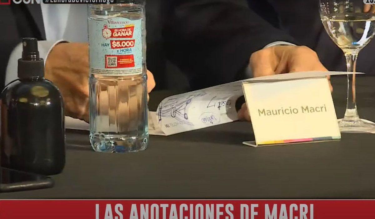 """Las anotaciones de Mauricio Macri durante la reunión de Juntos por el Cambio. ¿Escribió él """"noviembre"""" con error ortográfico?"""