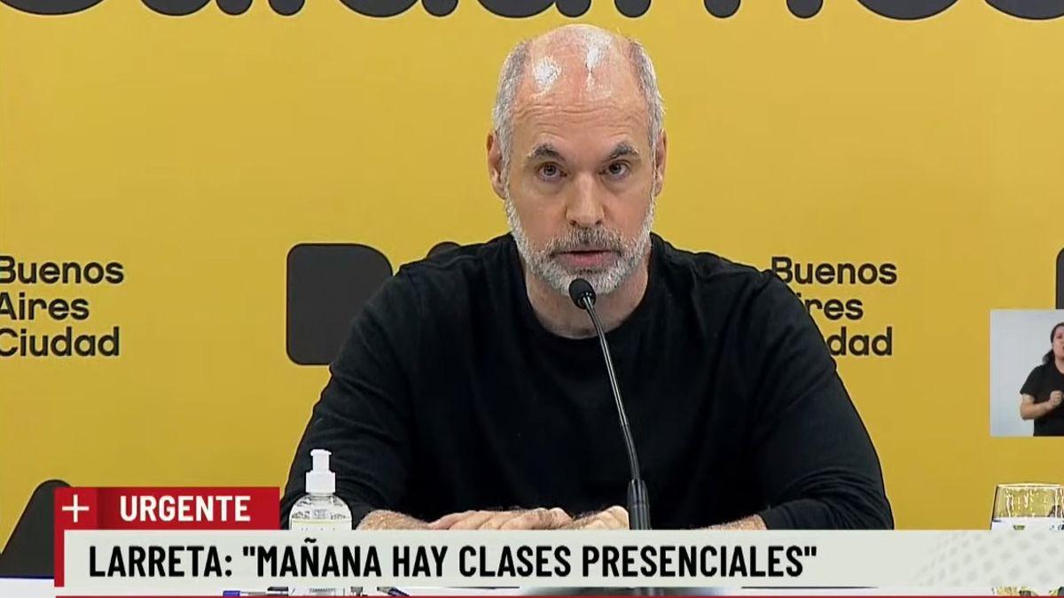 Horacio Rodríguez Larreta aseguró que habrá clases este lunes en Ciudad de Buenos Aires.