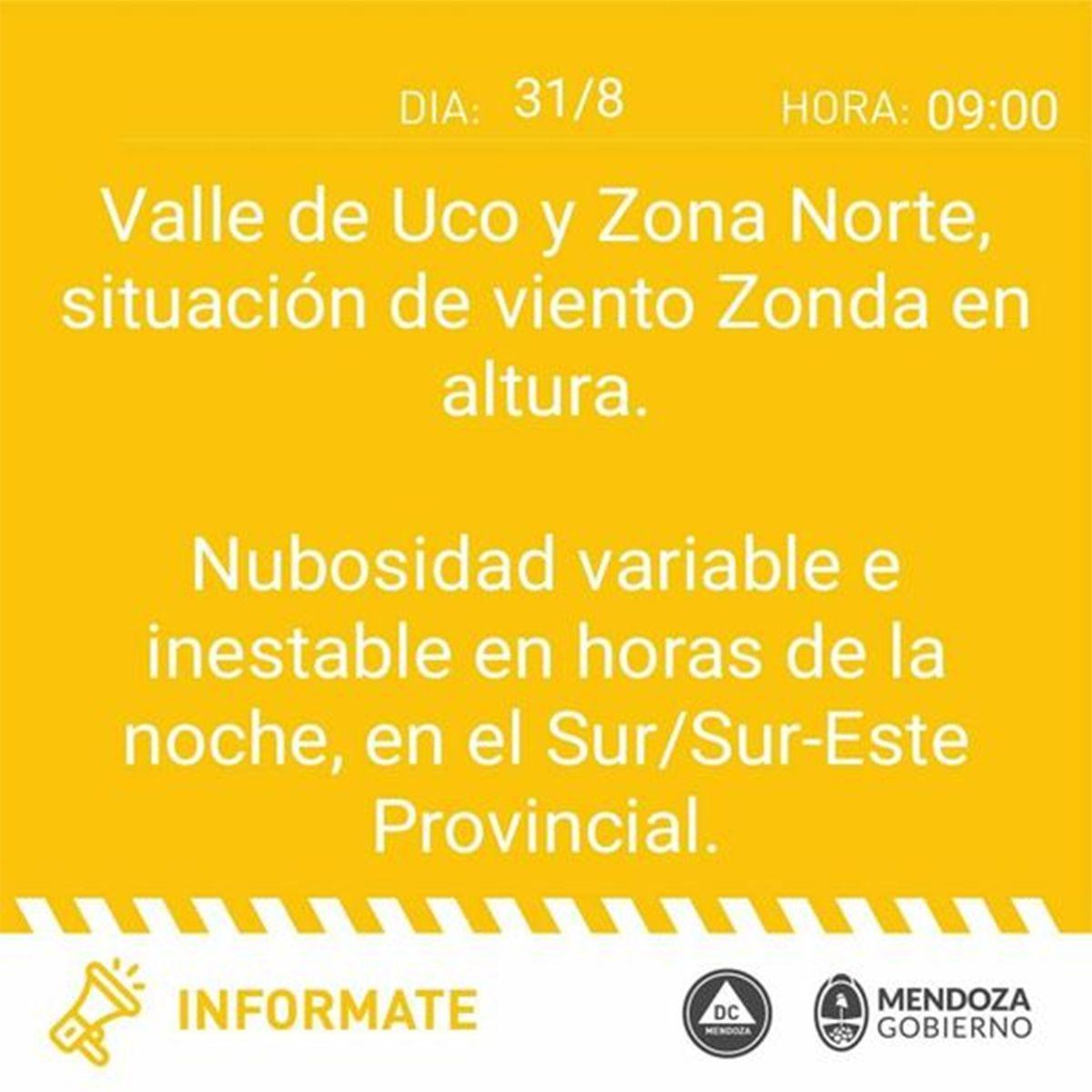 Defensa Civil alerta por Zonda en Mendoza para este miércoles