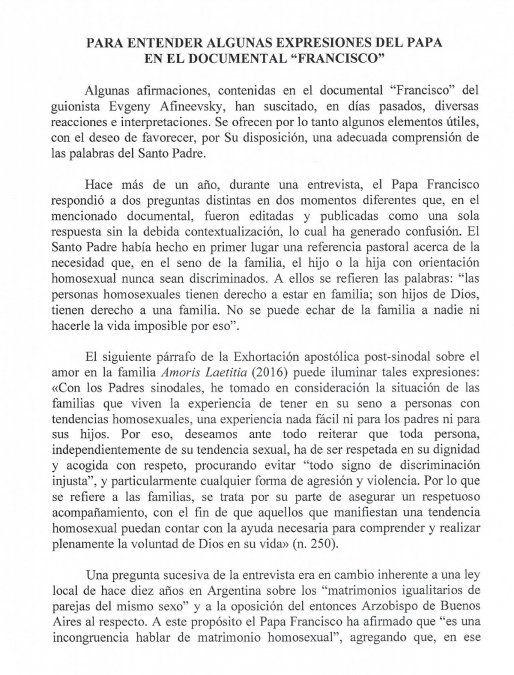 El Vaticano aclaró la posición del papa Francisco sobre la unión homosexual