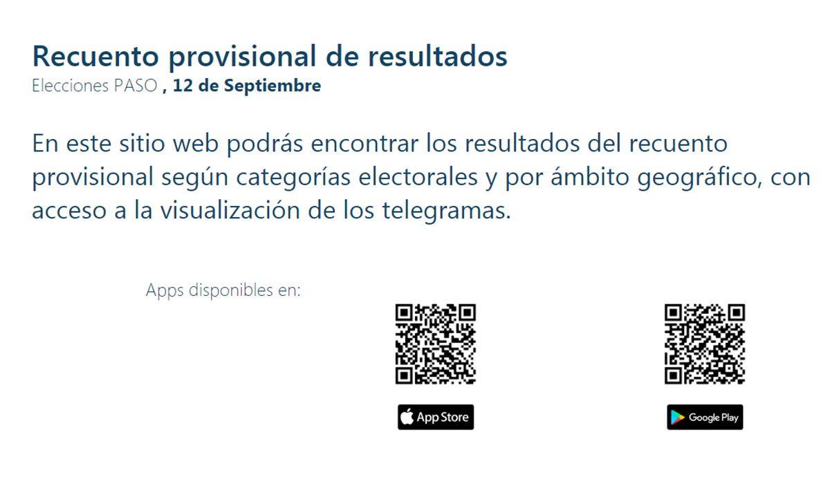 Los resultados de las Elecciones PASO 2021 se podrán ver en la página oficial desde las 21
