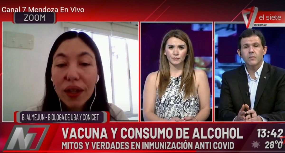 La bióloga Belén Almejún explicó que no es real que tras recibir la vacuna Sputnik V -la vacuna rusa- no se pueda ingerir alcohol por 42 días. Sólo se aconsejó un consumo moderado para estas Fiestas desde el ministerio de salud ruso.