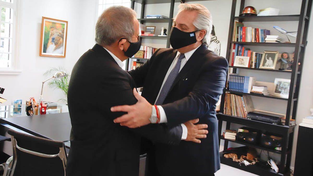 Sergio Palazzo y el Presidente en la residencia de Olivos.