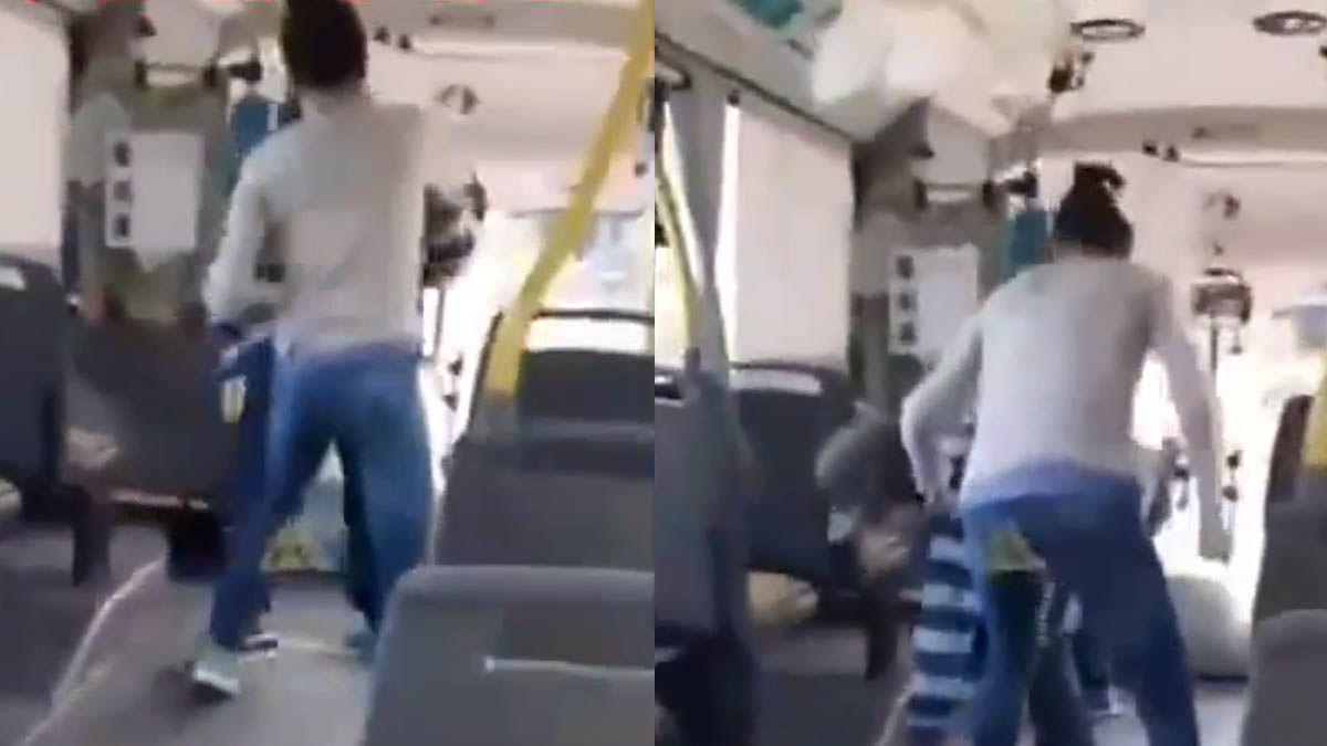 A las trompadas. Video: encontró con su padre abusador en el micro y lo bajó a piñas.