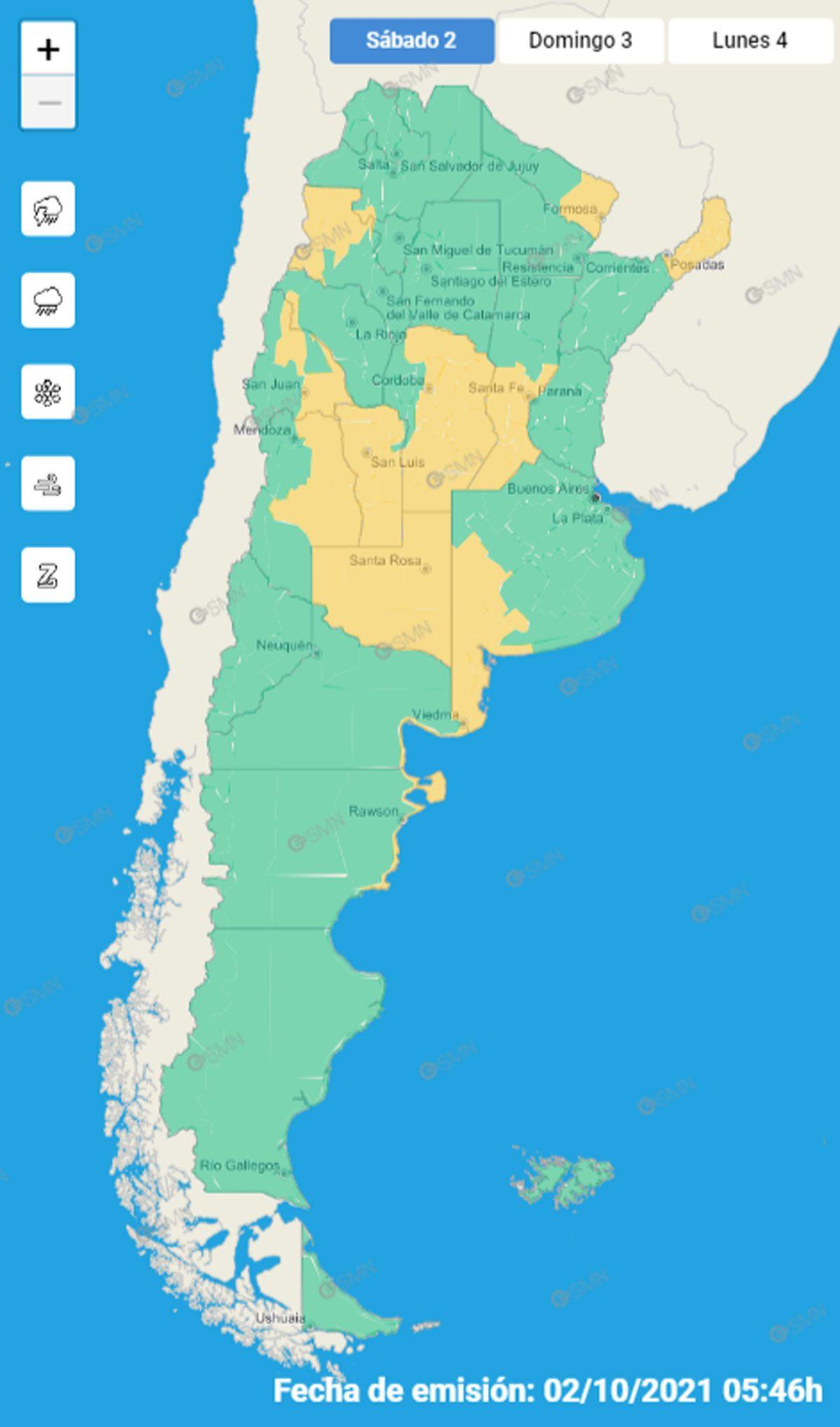 El mapa de alertas tempranas del SMN para este sábado 2 de octubre.