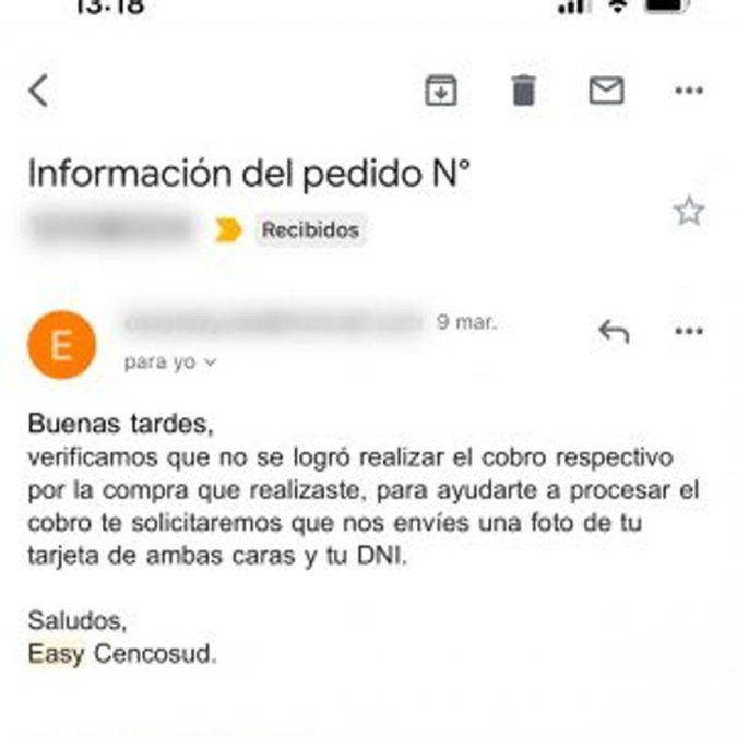 Si sos cliente de Easy y te llegó un mail como éste, ¡es una estafa!