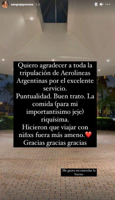 El mimo de la China Suárez a Aerolíneas Argentinas