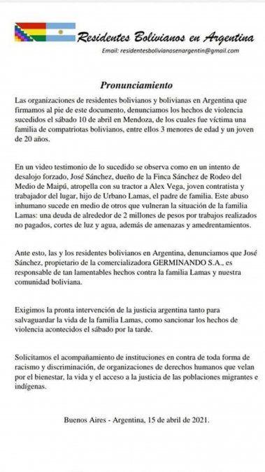 Comunidades bolivianas del todo el país piden justicia por la familia amenazada y atacada en Mendoza