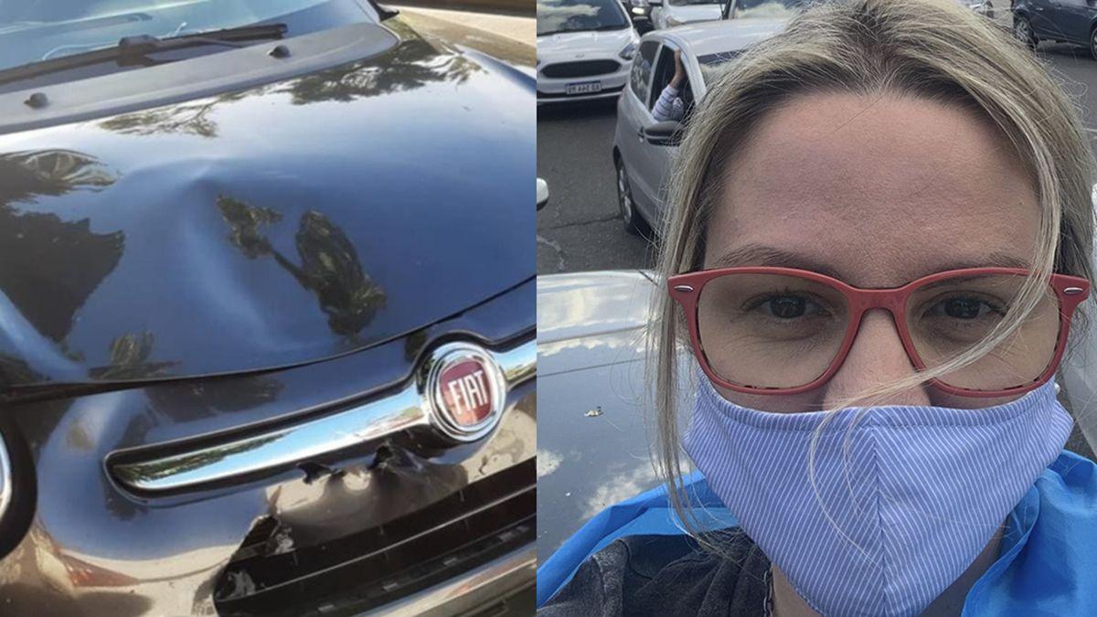 Según relato Píparo cuando se dirigían a realizar la denuncia en su Fiat 500 negro manejado por su marido Buzali