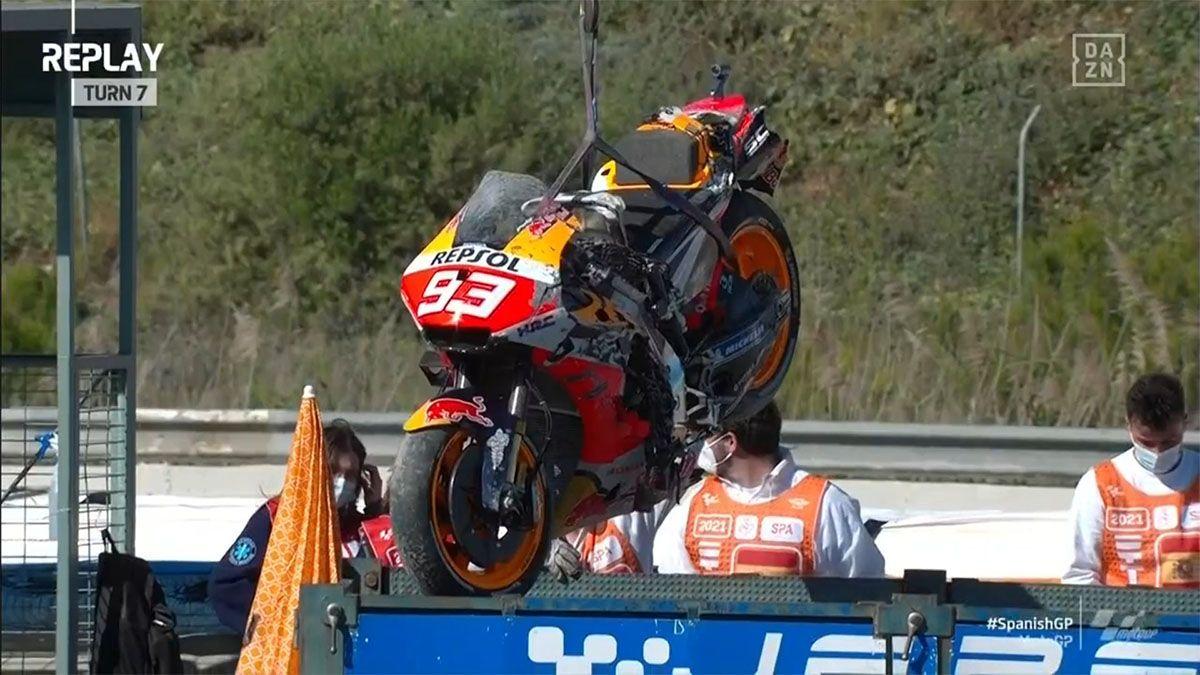 Márquez sufrió un grave accidente en el circuito de Jerez