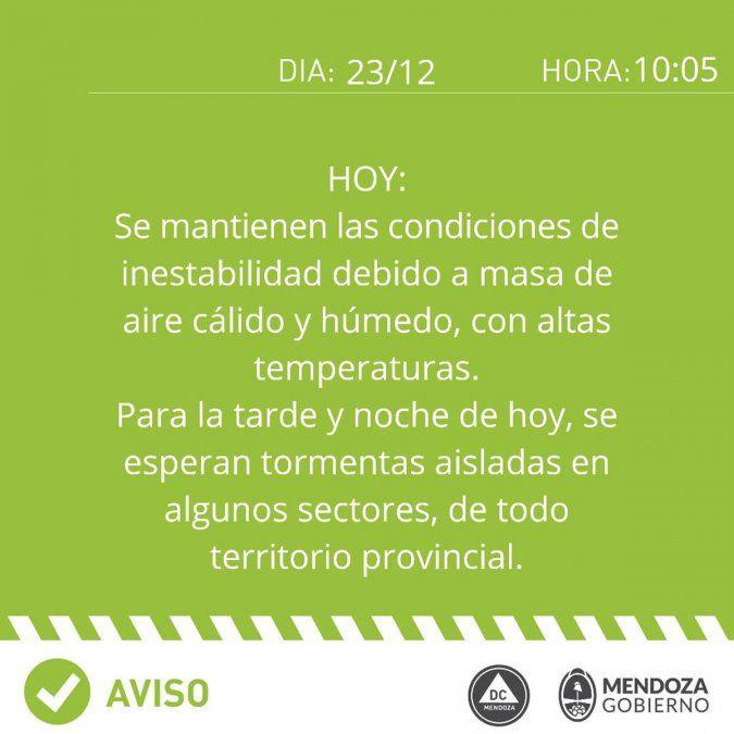Alerta por tormentas en Mendoza: aviso del Gobierno