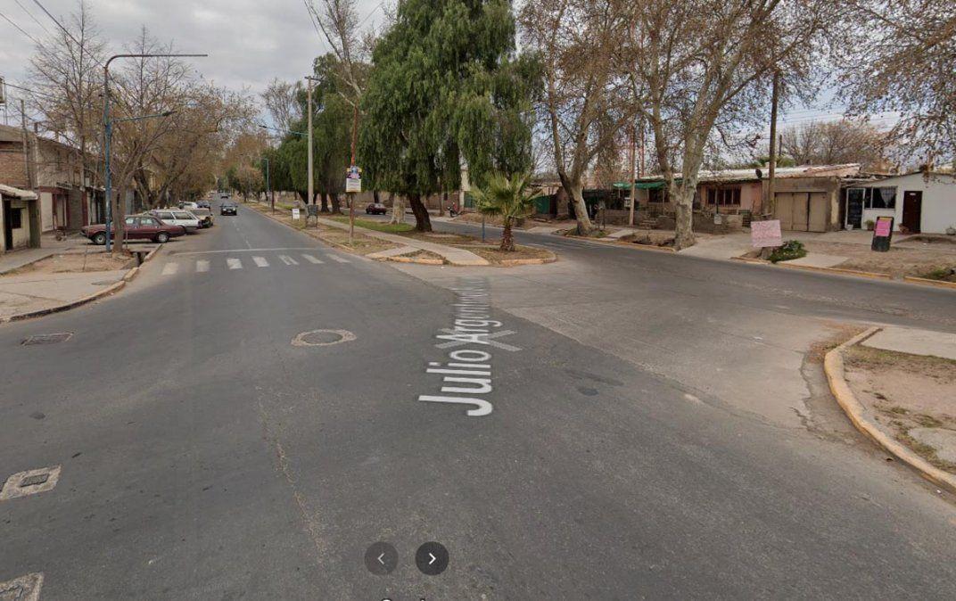 La zona del accidente fatal en Godoy Cruz