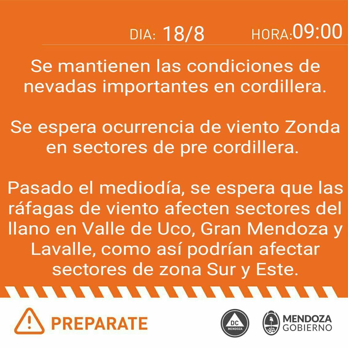El alerta naranja por el viento Zonda en Mendoza