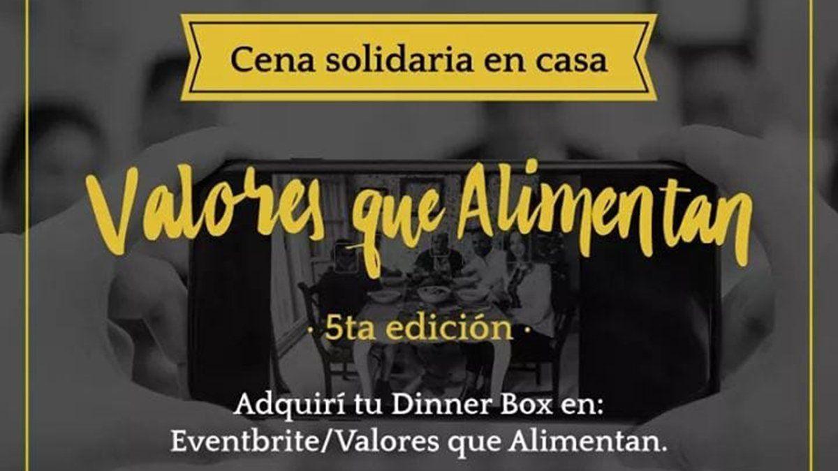 Valores que Alimentan, se acerca la cena solidaria y virtual el 5 de septiembre