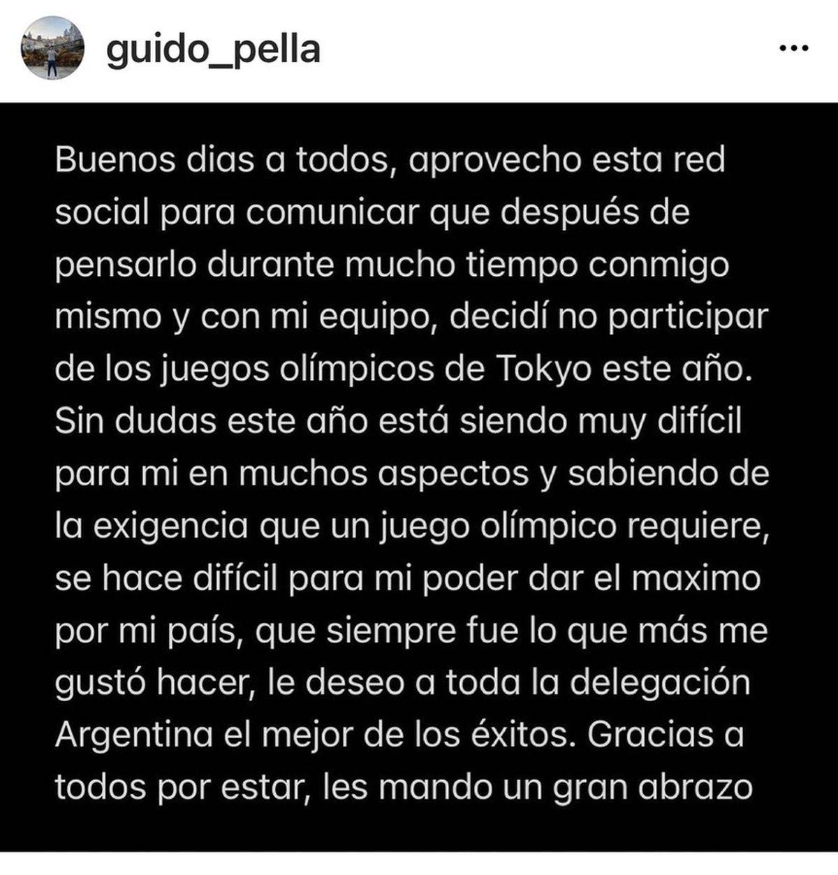 El comunicado de Guido Pella en su cuenta de instagram.