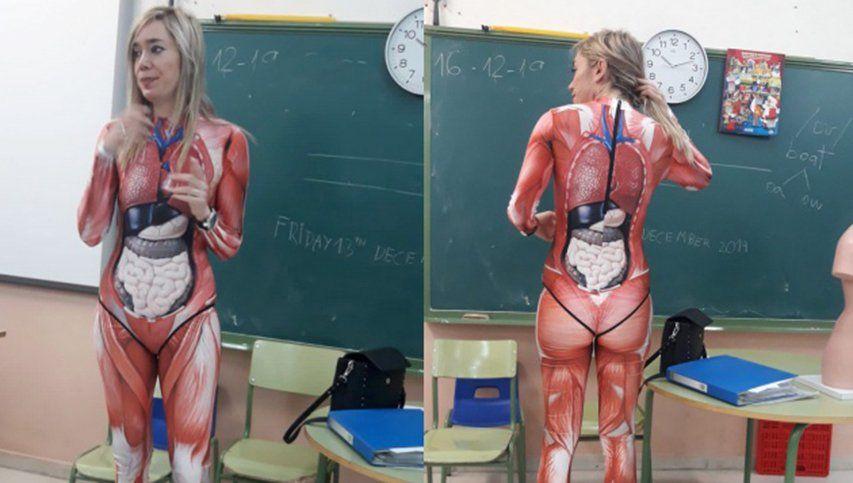 La profesora que se disfraza de cuerpo humano para enseñar a sus alumnos