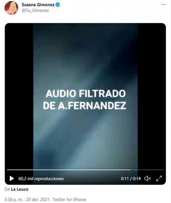 ¡Ay Susana! Publicó un audio falso de Alberto y lo tuvo que borrar