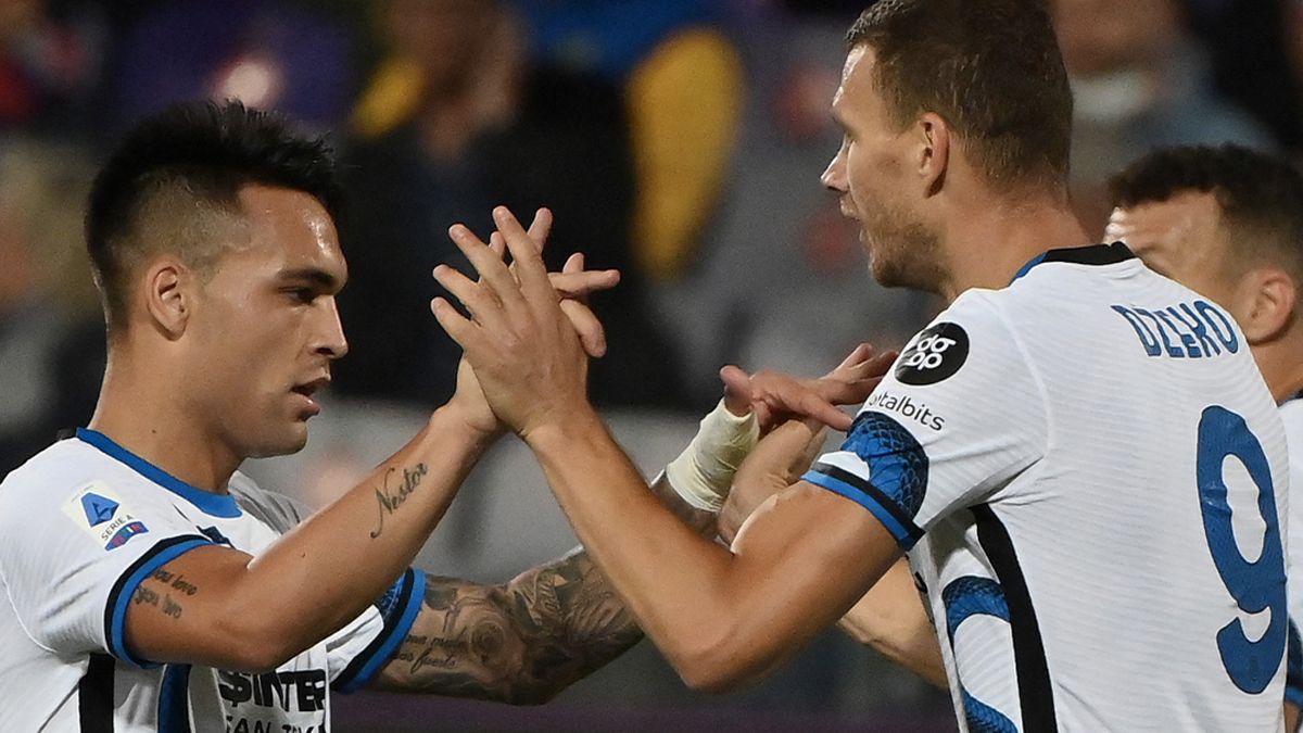 Lautaro Martínez y Dzeko, la dupla ofensiva del Inter, líder en la Serie A.