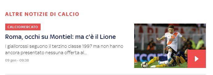Sky Sports de Italia dice que la Roma no está cerca de contratar a Gonzalo Montiel.