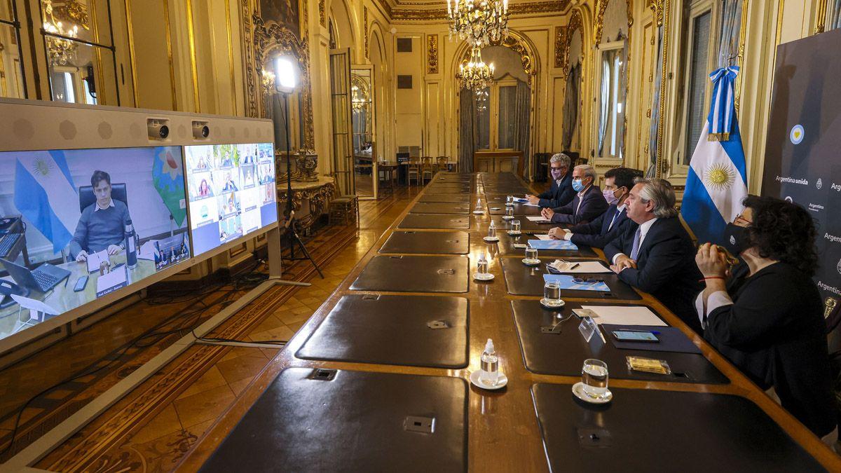 Por videconferencia se reunió Alberto Fernández con 12 gobernadores
