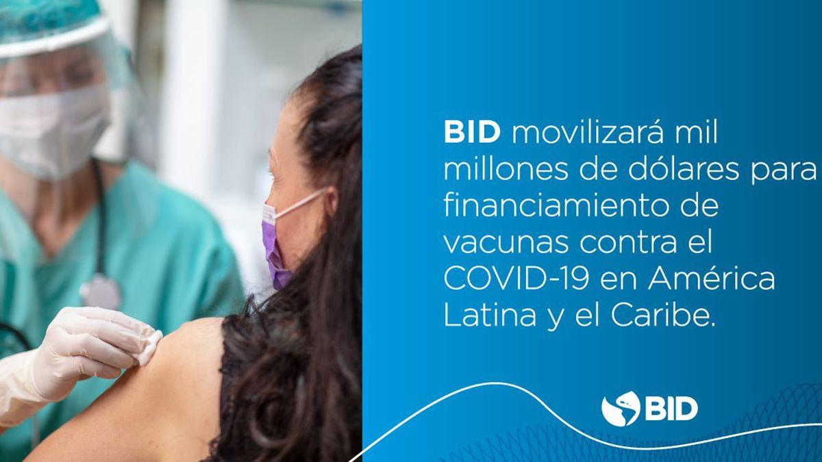 BID movilizará U$S1.000 millones para financiar vacunas contra el Covid-19