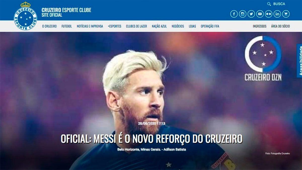 La cuenta oficial del Cruzeiro de Brasil fue hackeada anunciando la llegada de Messi