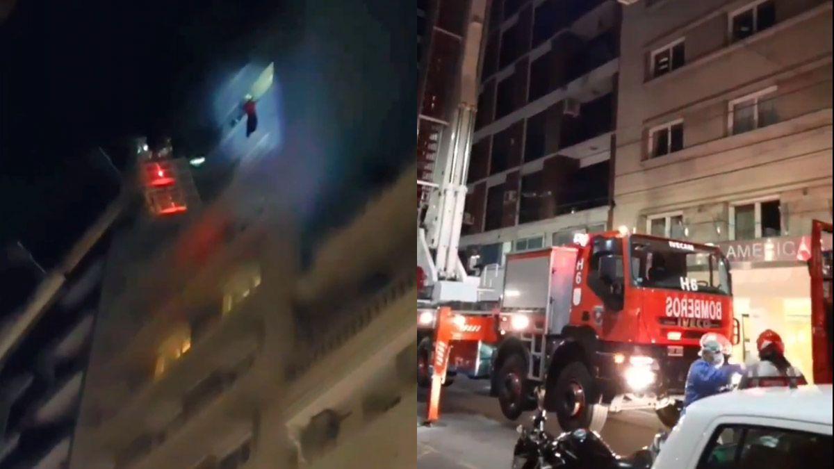 Dramático rescate del piso 11 al incendiarse su habitación