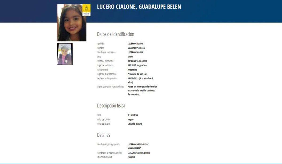 Alerta amarilla de la Interpol en la búsqueda de Guadalupe Lucero