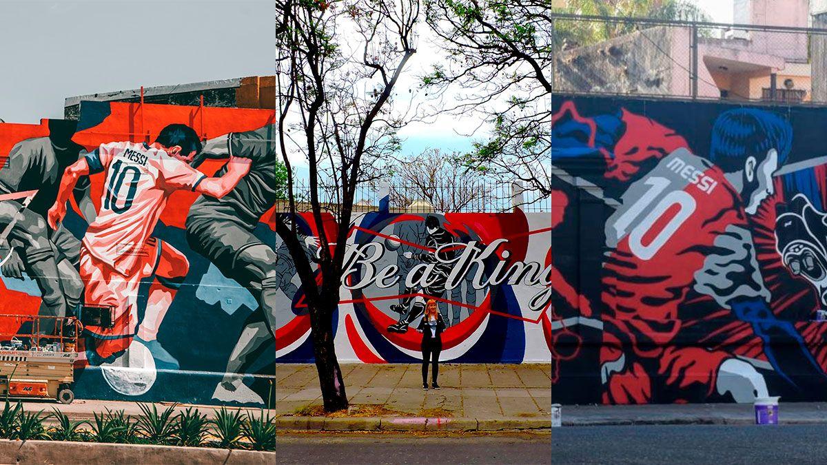 Lionel Messi quedó inmortalizado en tres murales