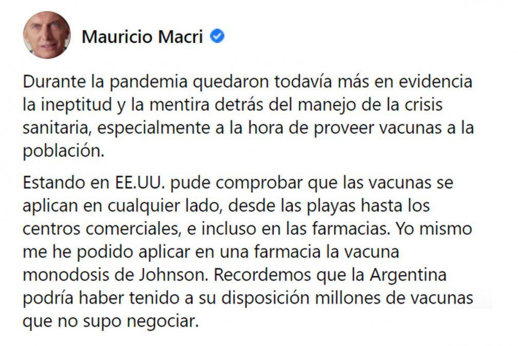 Contradicciones de Macri: dijo que iba a ser el último en vacunarse, pero no cumplió