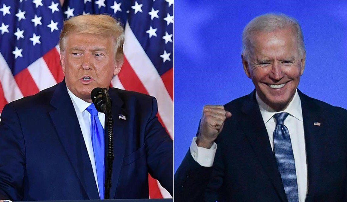 El presidente Donal Trump junto a su contrincante en las elecciones de Estados Unidos