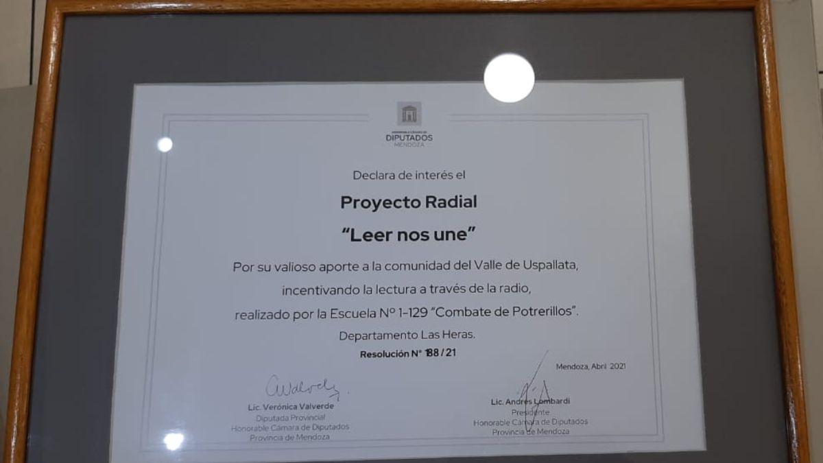 Este es el diploma que señala la declaración de Interés de la Cámara de Diputados al programa Leer nos une