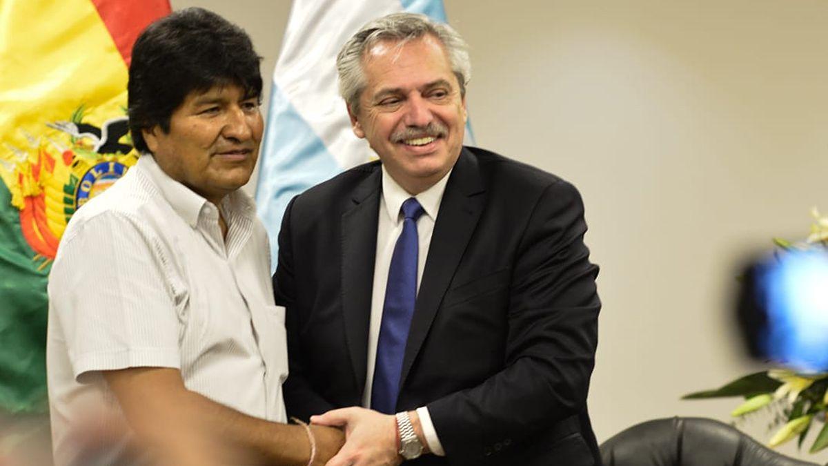 Evo Morales junto al Presidente.
