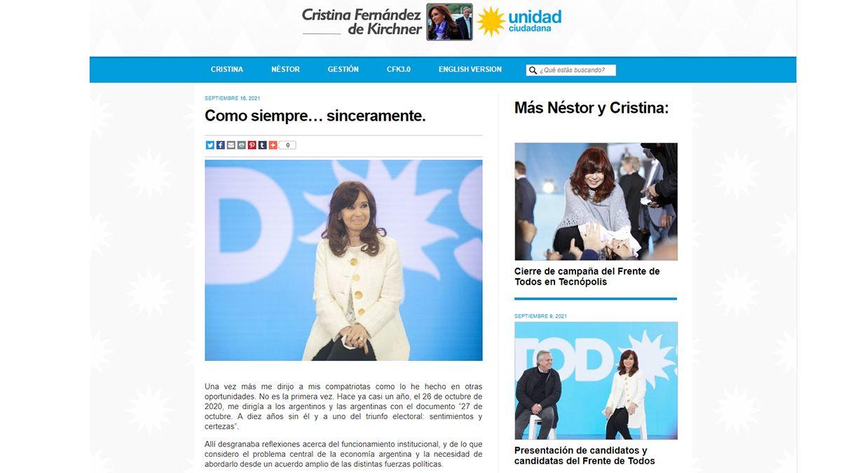 La carta que publicó Cristina Kirchner sobre la crisis por las renuncias en el Gobierno nacional.