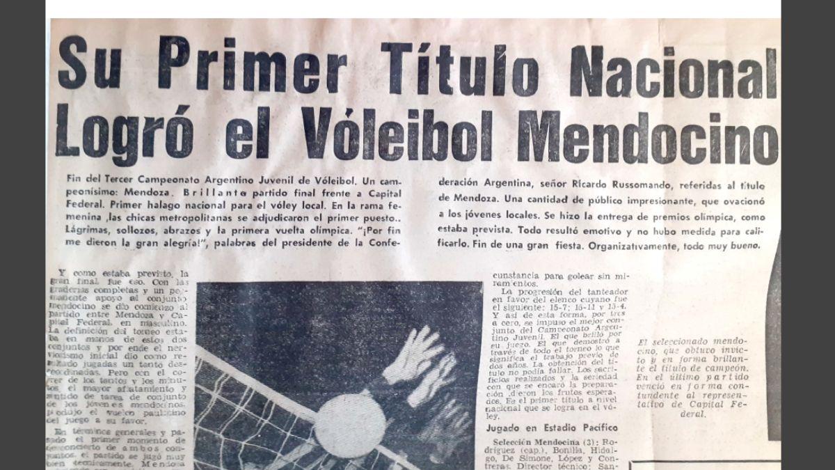 Tapa de diario de época, donde se destaca el triunfo del seleccionado mendocino, el primero a nivel nacional en aquel torneo jugado de local y con gran suceso de público.