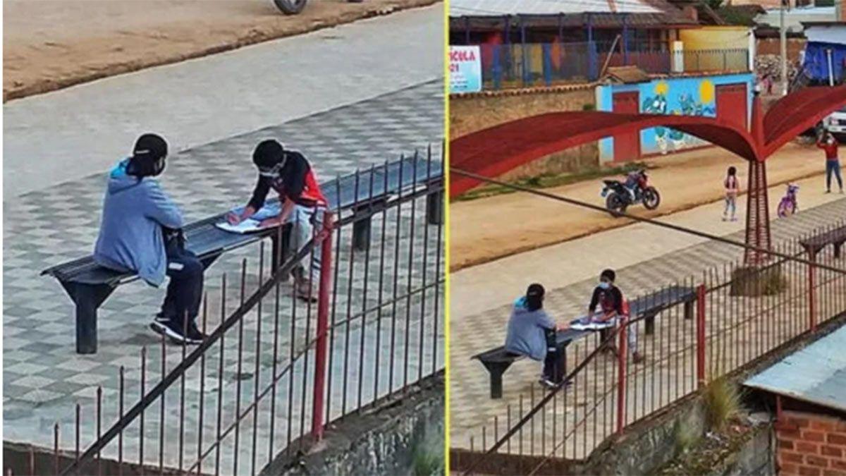 Gesto solidario. Una maestra enseñó en un parque porque un alumno no tenía computadora.
