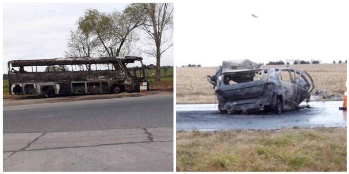 Así quedaron los vehículos tras el trágico accidente automovilístico.