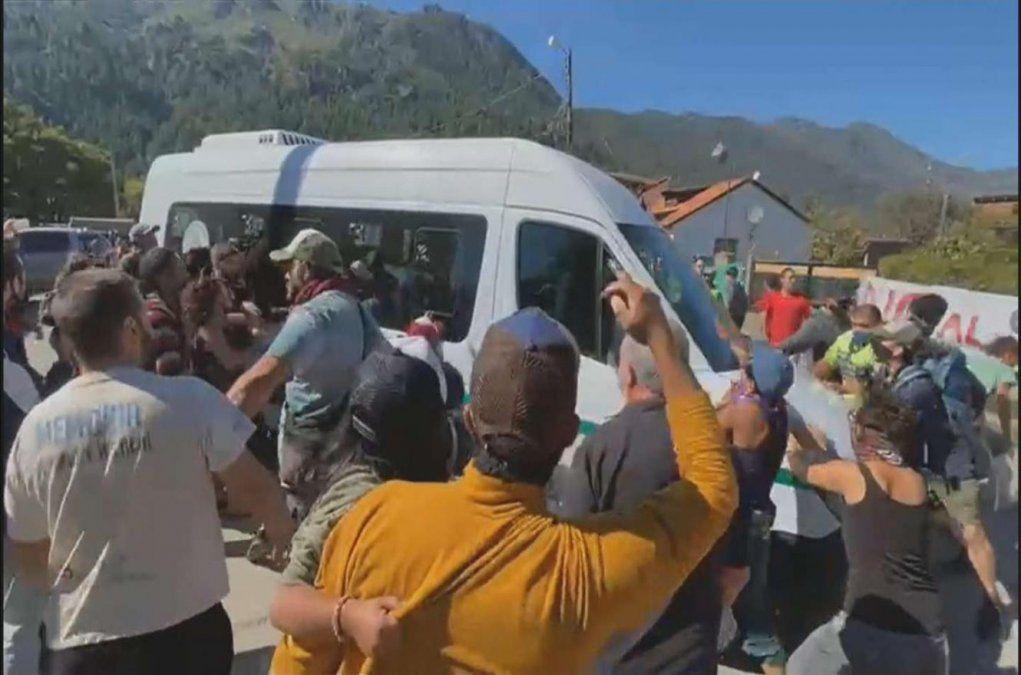 Un momento de los incidentes en Chubut