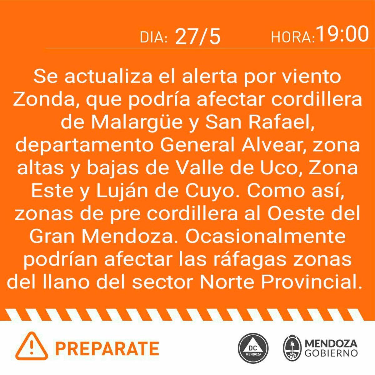 Alerta naranja por viento Zonda: hay más zonas afectadas