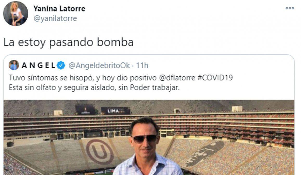 Diego Latorre tiene coronavirus. La irónica respuesta de Yanina Latorre