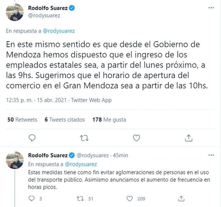 Qué dispuso Suarez sobre las clases presenciales, la administración pública y el comercio