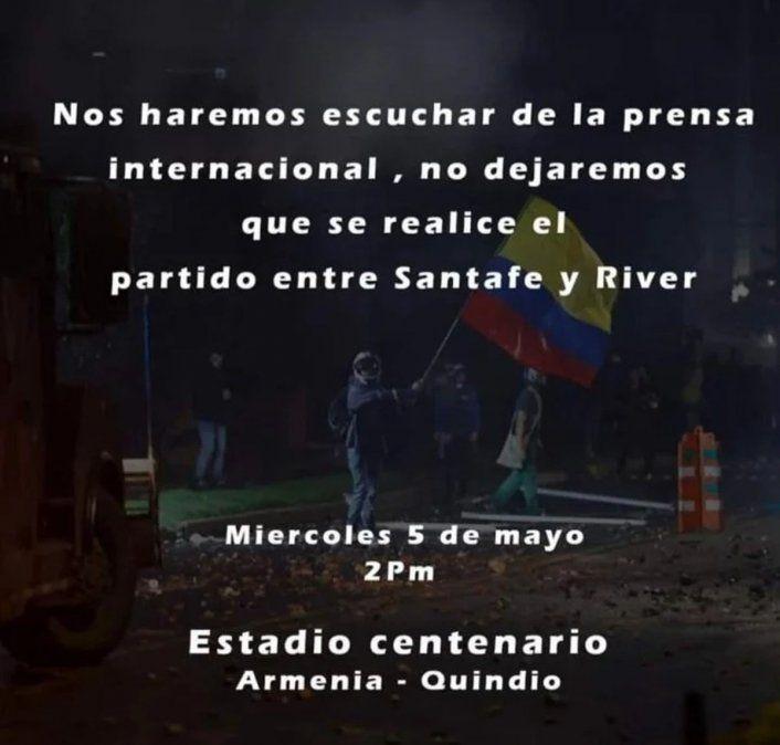 Alerta en River: protestantes en Colombia buscan suspender el partido