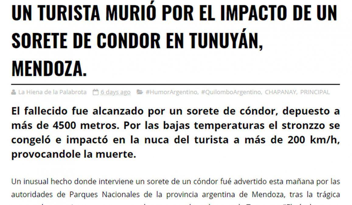 No murió un turista en Mendoza por un sorete de Cóndor