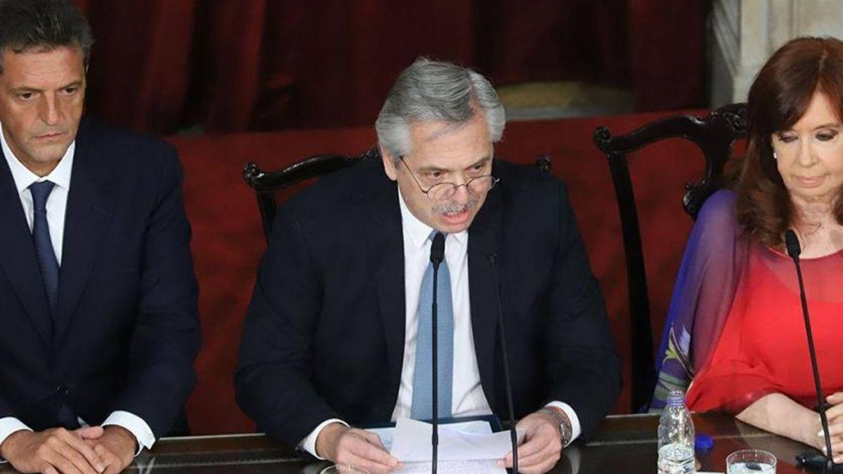 Cristina Kirchner y Sergio Massa recibirán al Presidente Alberto Fernández en el Congreso.
